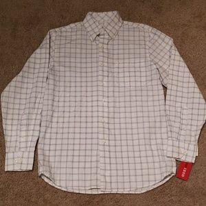Izod Mens Blue Windowpane Dress Shirt sz Small